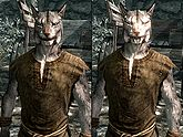 A male Khajiit, before and after becoming a vampire